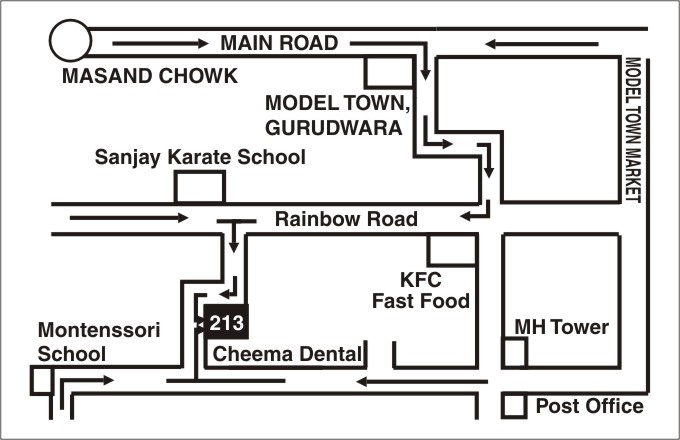 Cheema Dental is just at the end of lane opposite to Sanjay Karate School